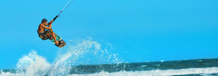 Recreational Water Sports Action. Kiteboarding Extreme Sport. Su